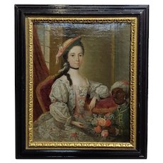 Friedrich Ludwig Hauck -Aristocratic Lady & her Black Slave-18th century Oil painting