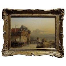Petrus Gerardus Vertin- Soldiers Entering a Castle -19th century Dutch Oil painting