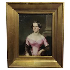 Beautiful Lady in Pink -19th century Continental Oil painting -c.1820