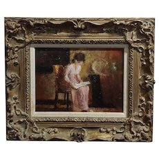 Allen McCurdy -Seated Woman Reading-Oil panting-America Post Impressionist