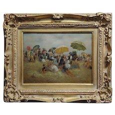 Claude Noel - French Beach Scene - Oil painting c1840s