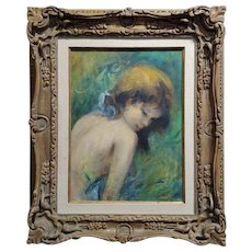 Cydney Grossman - beautiful Teenage Girl - Oil painting  circa 1960s