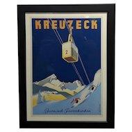 Kreuzeck original 1935 German Ski Travel Poster -Garmisch Plakat