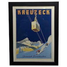 Kreuzeck original 1935 German Ski Travel Poster -Garmisch Plakat