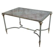 Beautiful Vintage Brass French Coffee table w/Glass top