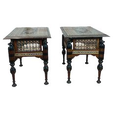 Syrian Intricate mother of pearl inlaid side table-a Pair
