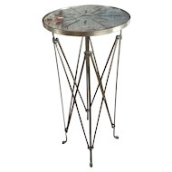 French Director Empire Campaign Bronze Tall Side Table w/Glass top