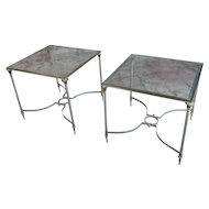 Vintage Brass French Side tables w/Square Glass top- a Pair ERROR LISTING