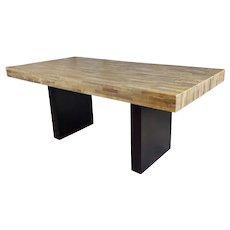 Vintage Butcher Block style Dining table w/Ebonized Base