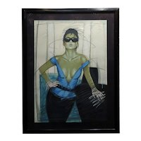 Model wearing Black Sunglasses- original 1980s advertising Serigraph -Signed