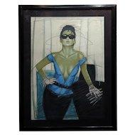Dennis Mukai - Model w/Black Sunglasses- original 1980s Serigraph -Signed