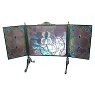 Gorgeous Art Nouveau Bronze & Stained Glass Fireplace screen
