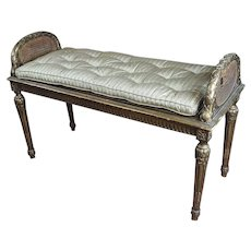Antique French Louis XVI Cane Bench