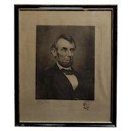 Jaques Reich -Original Engraved Portrait of Abraham Lincoln -Signed