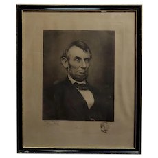Jaques Reich -Original Engraved Portrait of Abraham Lincoln -Signed