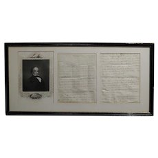 Daniel Webster -Original Signed Manuscript Letter w/ Engraving Portrait  - c1810/20s