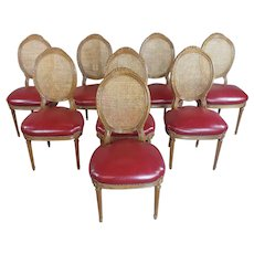 Louis XVI Cane Back Dining Chairs w/Beautiful Red Leather seats-Set of 8