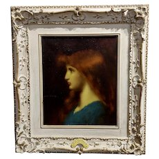 Jean Jacques Henner -Portrait of a Beautiful Red Haired Girl-Oil painting