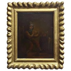 18th century Flemish Oil Painting- Gentlemen lighting a Pipe
