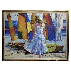 Howard Behrens -Girl on Beach by Sail Boats-Oil painting