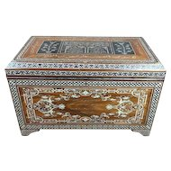 Fabulous Syrian Mother of Pearl inlaid wooden Chest w/Calligraphy