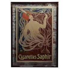 Cigarettes Saphir -Original 1900s French Art Nouveau Poster by Stephano