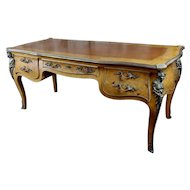 Louis XV Bureau Plat-Bronze Mounted, Inlaid parquetry and leather top
