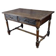 Spanish Revival Writing or Dining Table w/2 drawers