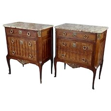 French 19th century Louis XVI Marble Top Walnut Commodes-a Pair  3 drawers