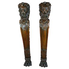 19th c massive Architectural carved Lion heads wall Brackets columns -A pair