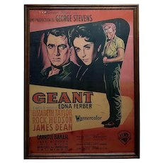 Giant -James Dean,Rock Hudson E. Taylor original 1956 French Movie Poster