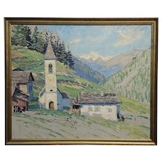 Charles Ebert -Old Church in an montain Valley-Oil painting-c1913