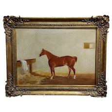 19th century Race Horse in a stall -English Oil painting -c1860s