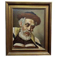 Lajos Polczer - Portrait of a Patriarch Rabbi -oil painting