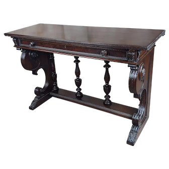 Spanish Revival Dark carved Console Table