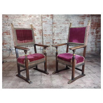 Spanish Revival Antique High Back Chairs w/Red Velvet Upholstery -A Pair