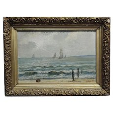 J. Dowe - 19th century Seascape with sail boats -Oil painting