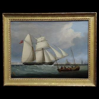 John Lynn -Royal Navy Sail Ship approaching Portsmouth-19th century Oil painting -c1840