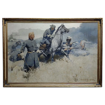 Douglas Duer -US Civil War Confederate Soldiers Under Fire-Monumental Oil painting 1926