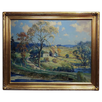 Frederick Mortimer Lamb -New England Country side Landscape-Oil painting-c1900s