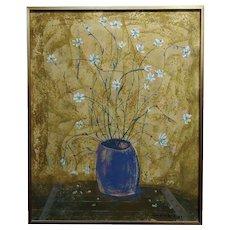 Mercado -Still Life of Flowers  -Oil painting 1969