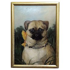 Portrait of a Cute Pug -English School Oil painting