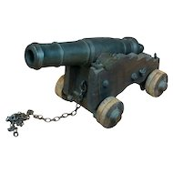 Cast Iron Military Signal Cannon w/ Wooden Cart