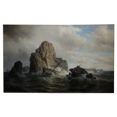 Paul Auguste Godefroy -The Shipwreck-19th century Oil painting 1863