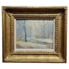 William Krullaars -Winter Solitude by the Creek Landscape - oil painting-c1900s