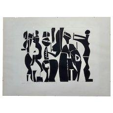 Edgar Ewing -Greek Wedding in Rome 1969-Modernist Cubist painting