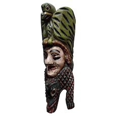 Antique wood carved Mexican Mask -Painted