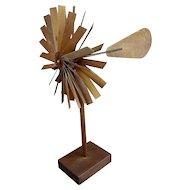 Double Propeller Wooden Mid-century Weather Vane