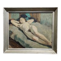 Henri Georges Troussard -Nude Sleeping Young Girl -Oil painting 1931