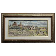 Tatyana Radimova -Khotkovo Village Landscape-1968 Russian Oil painting